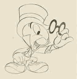 Sketch of Jiminy Cricket