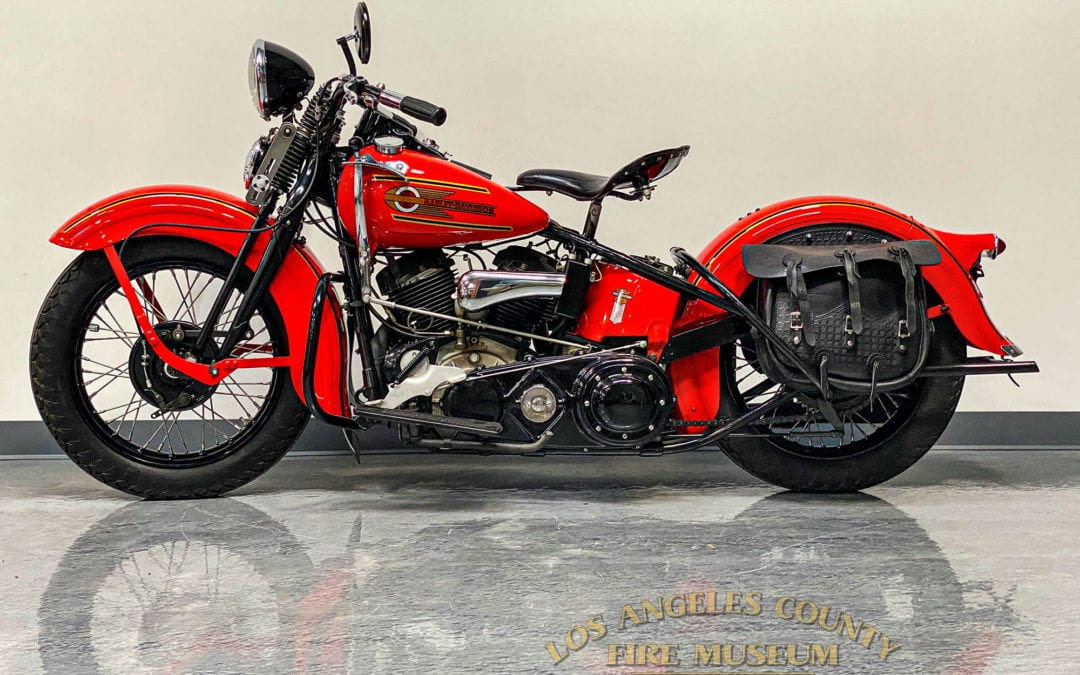 Restored red 1937 ULH Harley-Davidson Motorcycle