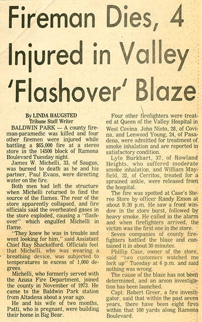 "newspaper clipping headline : FIREMAN DIES, 4 INJURED in 'FLASHOVER"" BLAZE"