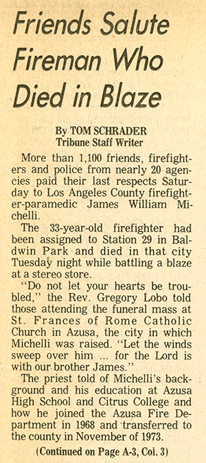 "newspaper clipping with the headline ""Friends Salute Fireman Who Died in Blaze"""